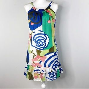 Aryeh Dress Abstract Print Blue Coral Green Small